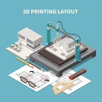Architect isometric composition with text and 3d printing layout with project paperwork and building
