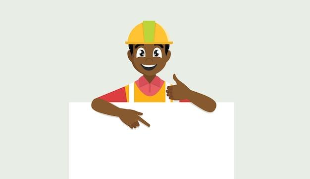 Архитектор человек в строительном шлеме указывая на знамя