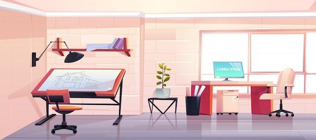 Архитектор офис с планом в дизайнерской студии
