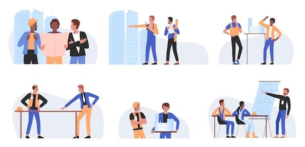 建築家の人々は、プロのビルダーと一緒に設定された建設労働者の職業を働いています