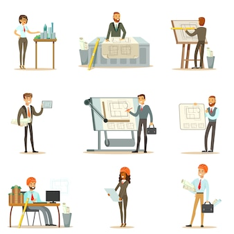 Architect profession set of   illustrations with architects designing projects and blueprints for building construction