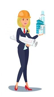 Architect vector character. woman holds skyscraper