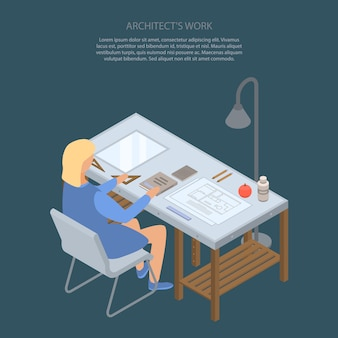 Architect work concept in isometric style