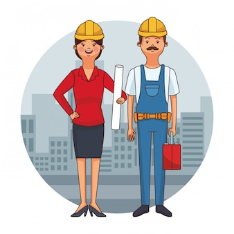 Architect and worker cartoon