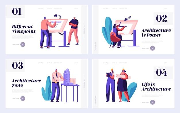 건축가 작업자 엔지니어링 건설 계획 설정 방문 페이지. 엔지니어 그룹 작업 건물 프로젝트. 남자와 여자 그리기 건축 웹 사이트 또는 웹 페이지. 플랫 만화 벡터 일러스트 레이션