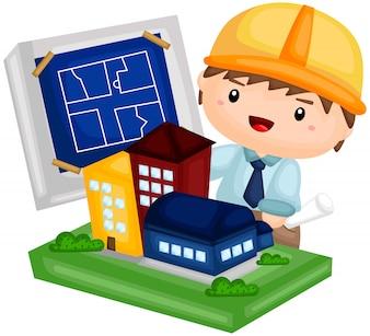 Архитектор работает над зданием