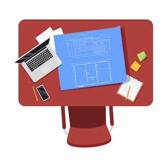 Architect workplace semi flat illustration