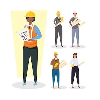 建築家やエンジニアの人々は、建設改造と作業テーマのヘルメットのデザインベクトル図