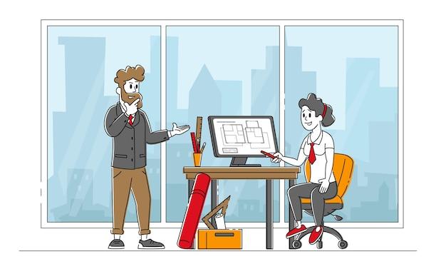 건축 계획에 사무실에서 일하는 건축가 캐릭터