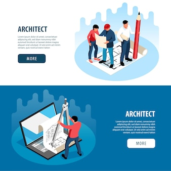 Architects and construction engineers working on architecture project horizontal banners set