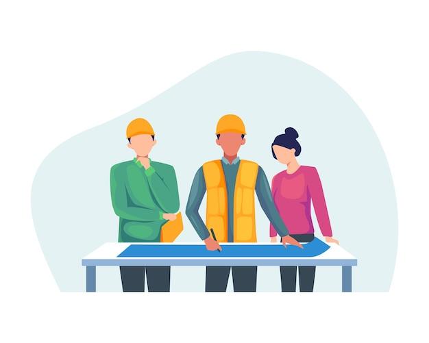 建築家がプロジェクトについて話し合います。請負業者およびエンジニアのキャラクター。フラットスタイルで