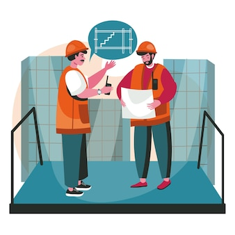 Architects discussing blueprint scene concept. engineers team in helmets talk about device of staircase in house, looking at plan, people activities. vector illustration of characters in flat design