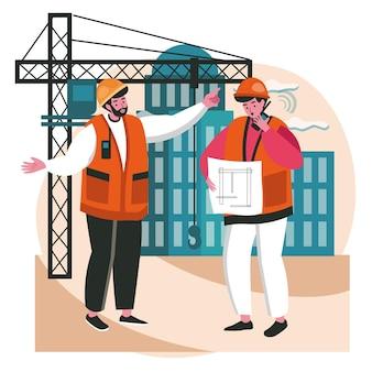 청사진 장면 개념을 논의하는 건축가. 헬멧을 쓴 엔지니어 팀은 건설 현장, 사람들의 활동에서 건물 프로젝트를 수행합니다. 평면 디자인에 문자의 벡터 일러스트 레이 션