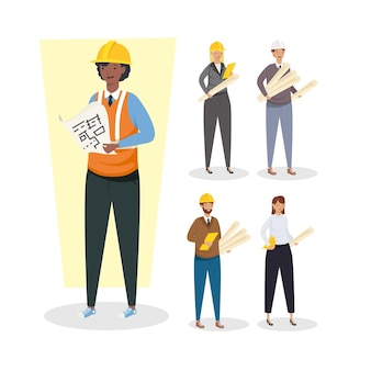 Architects and engineers people with helmets design of construction remodeling and working theme vector illustration