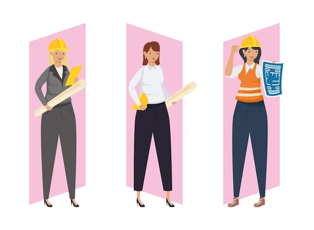 Architects and engineers women with helmets and plans design of construction remodeling and working theme vector illustration