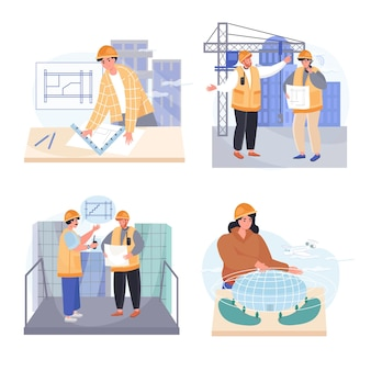 Architects profession concept scenes set vector illustration of characters