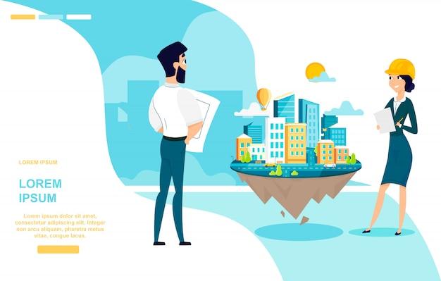 Architects team work cartoon vector web banner