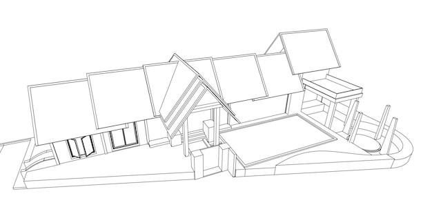 건축 추상 모양, 추상 건축 아치 3d 그림입니다.