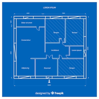 집의 건축 청사진 무료 벡터
