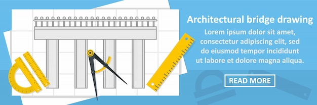 Architectural bridge drawing banner horizontal concept