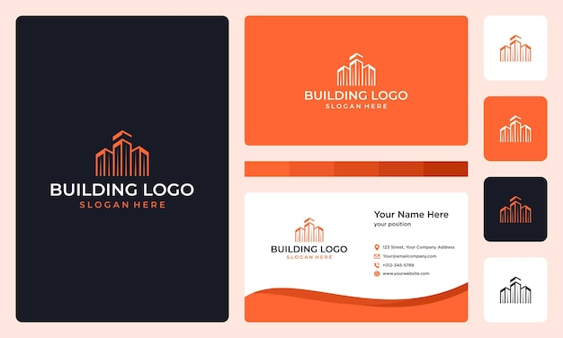 Architectural building logo and business card design template