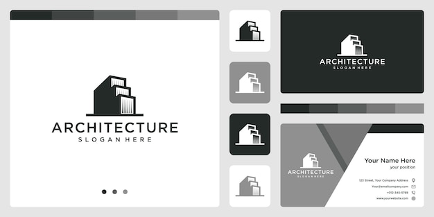 Architectural building logo with real estate logo design template. business card.