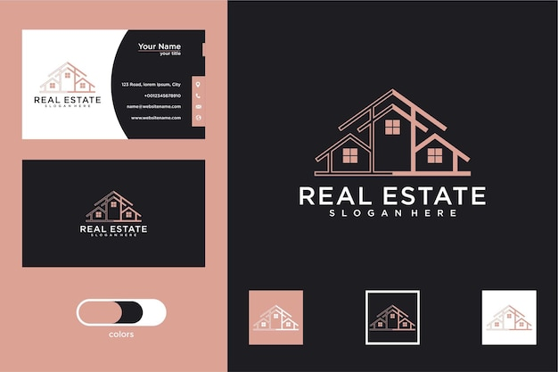 집 로고 디자인과 명함이 있는 건축 건물