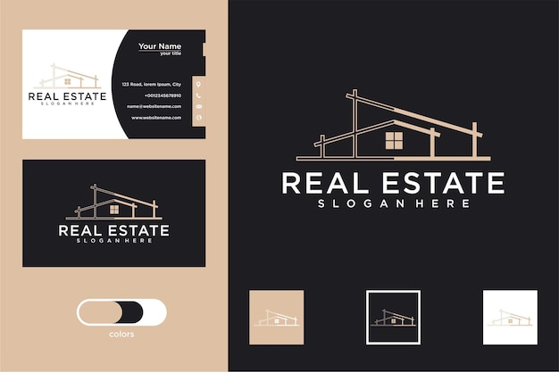 Architectural building with house logo design and business card