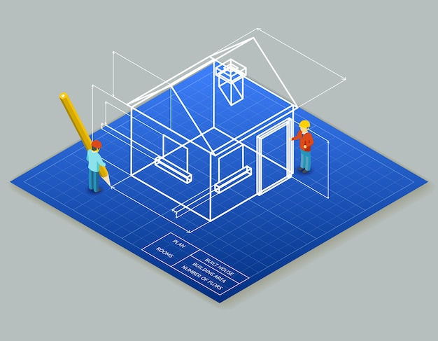 Architectural design blueprint drawing 3d in isometric view