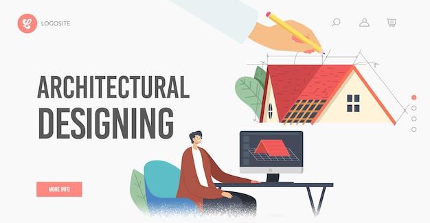 건축 설계 방문 페이지 템플릿. 그래픽 디자이너는 코티지 하우스 지붕 디자인을 투영하는 클라이언트, 엔지니어 여성 캐릭터를 위한 지붕의 3d 모델을 만듭니다. 만화 사람들 벡터 일러스트 레이 션