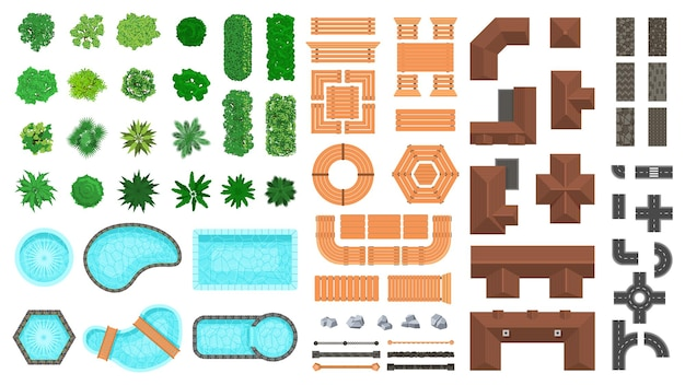 Architectural landscape items. outdoor city top view trees, houses, roads and wooden furniture