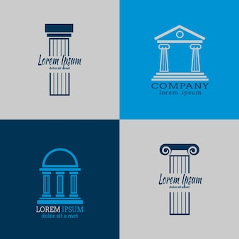 Architectural logo templates with columns. column architecture, roman column, antique column business logo illustration