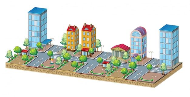 大規模な住宅地の建築モデル。都市の景観