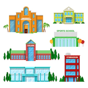 Architectural school and university buildings set.