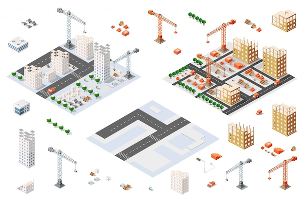 Architectural set isometric