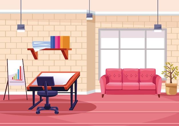 사무실 그림에서 건축 테이블 작업