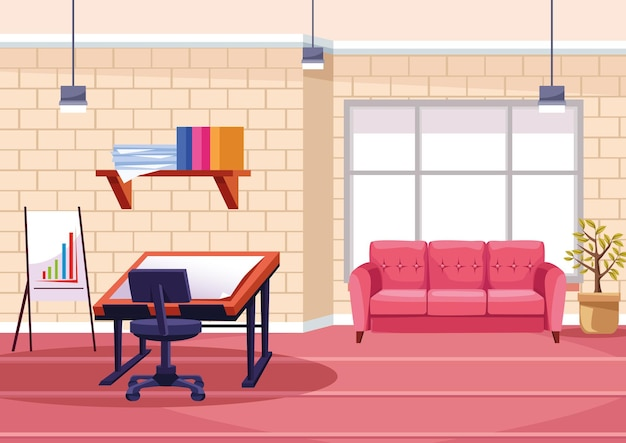 Architectural  table work in the office  illustration