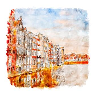 Архитектура амстердам нидерланды акварельный эскиз рисованной иллюстрации