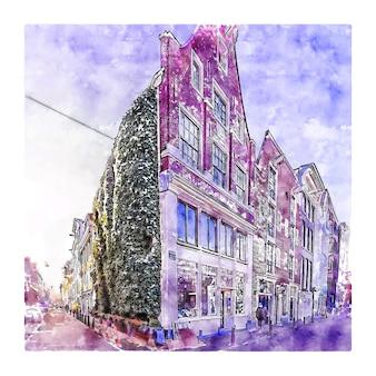 建築アムステルダムオランダ水彩スケッチ手描きイラスト
