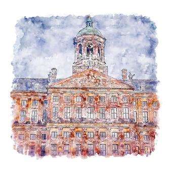 건축 암스테르담 네덜란드 수채화 스케치 손으로 그린