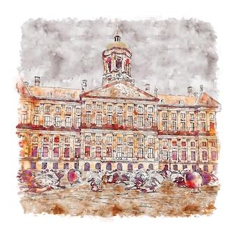 건축 암스테르담 네덜란드 수채화 스케치 손으로 그린 프리미엄 벡터