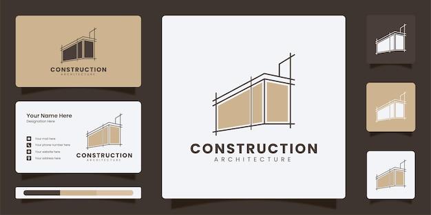 ビジネステンプレートと建築と建設ラインアートのロゴのテンプレート