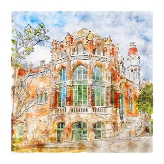 건축 바르셀로나 수채화 스케치 손으로 그린 그림