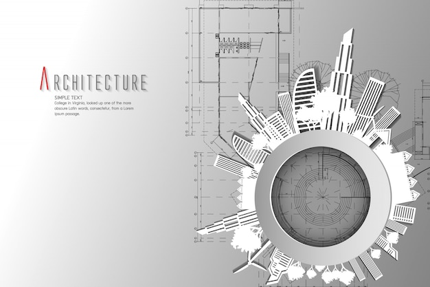 Architecture and blueprint background.paper art style.