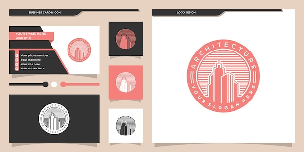 Architecture building logo design with modern emblem style and business card premium vecto
