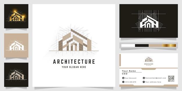 명함 디자인이 있는 건축, 건물 또는 부동산 로고