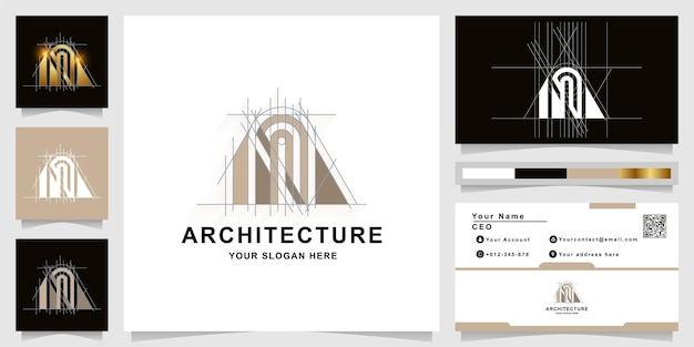 명함 디자인의 건축, 건물 또는 부동산 모노그램 로고