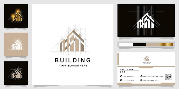 Architecture, building or real estate monogram logo with business card design