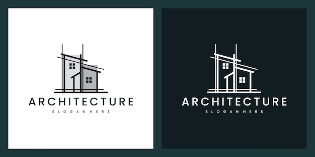 Architecture building with line art style, logo design inspiration