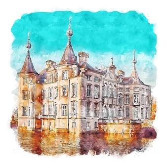 Architecture castle belgium watercolor sketch hand drawn illustration